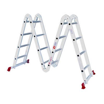 Лестница алюминиевая мультифункциональная трансформер 4*4ступ. 4.75м, Intertool lt-0029