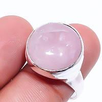 Оригинальное кольцо с розовым кварцем. Размер 17,5. Кольцо розовый кварц в серебре Индия, фото 1