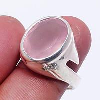 Кольцо розовый кварц в серебре. Кольцо с розовым кварцем размер 17,3 Индия, фото 1