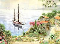 """Обои фреска. """"Живописный пейзаж и лодка"""""""