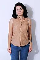 Блуза женская без рукавов бежевая Zara 2536