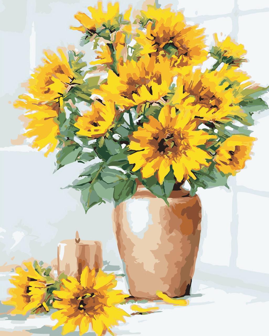 Художественный творческий набор, картина по номерам Подсолнухи в вазе, 40x50 см, «Art Story» (AS0337)