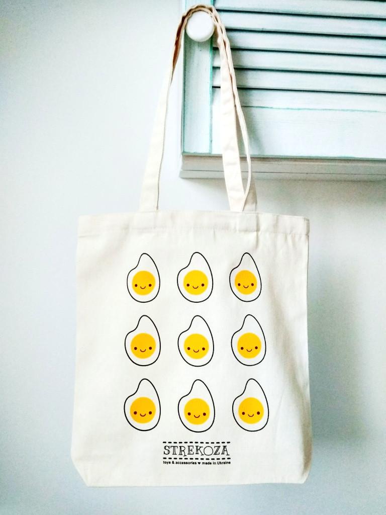 Эко-сумка хлопковая Strekoza Яичница 35х37 бежевый