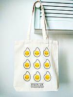 Эко-сумка хлопковая Strekoza Яичница 35х37 бежевый, фото 1