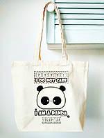 Эко-сумка хлопковая Strekoza Панда 41х34 бежевый, фото 1