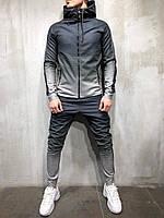 Спортивный мужской костюм серый с широкими лампасами