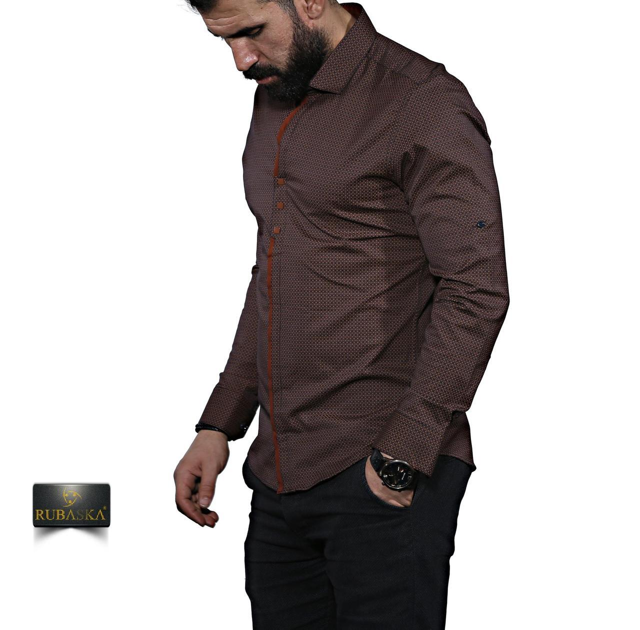 35653aafb09 Коричневая мужская рубашка с рисунком  продажа