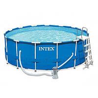 Каркасный бассейн Intex 28242, лестница,тент,подстилка,фильтр-насос 3785 л\ч, 457 х 122 см