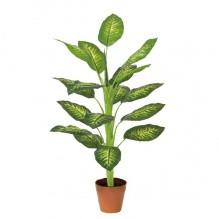 Дифенбахия пятнистая искусственный цветок 93 см коричневый горшок