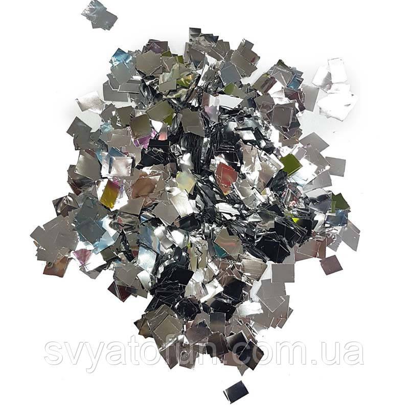 Конфетти Квадрат, серебро, металлик, 50 г.