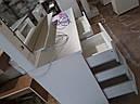 Широкий стол для макияжа, гримерный стол с большим зеркалом в раме и полочкой, фото 6
