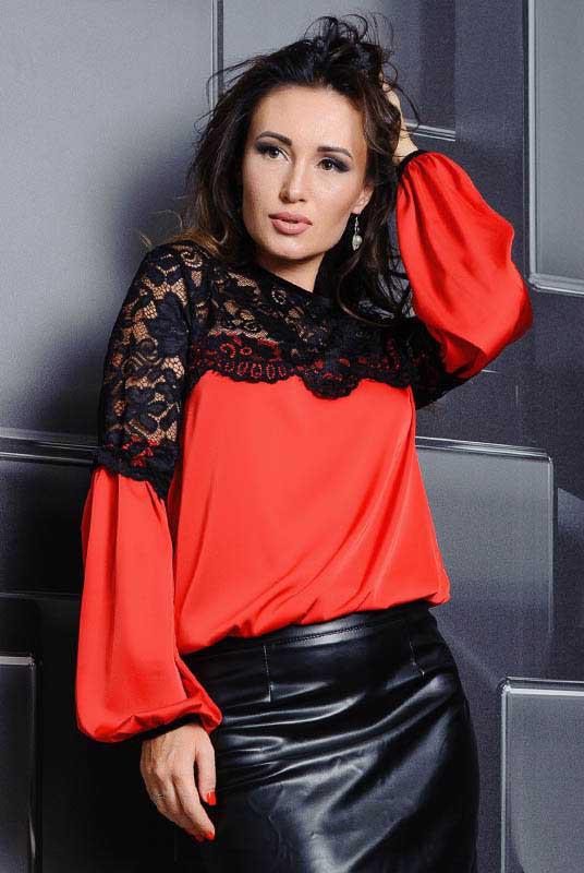 Красная блузка Мери, большого размера