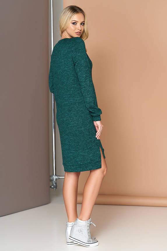 Трикотажное платье оверсайз с шерстью 44-54р изумрудное, фото 2
