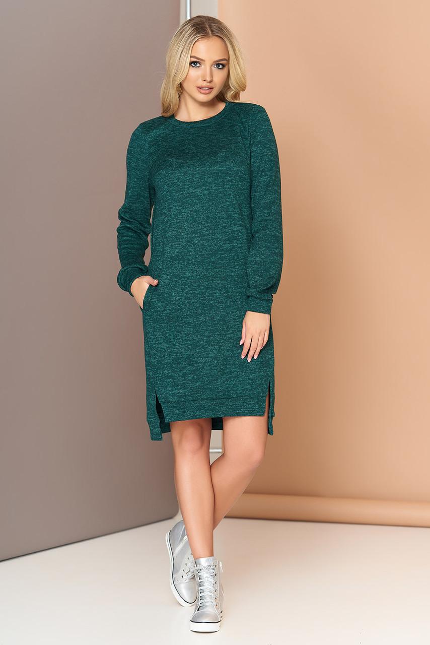 Трикотажное платье оверсайз с шерстью 44-54р изумрудное