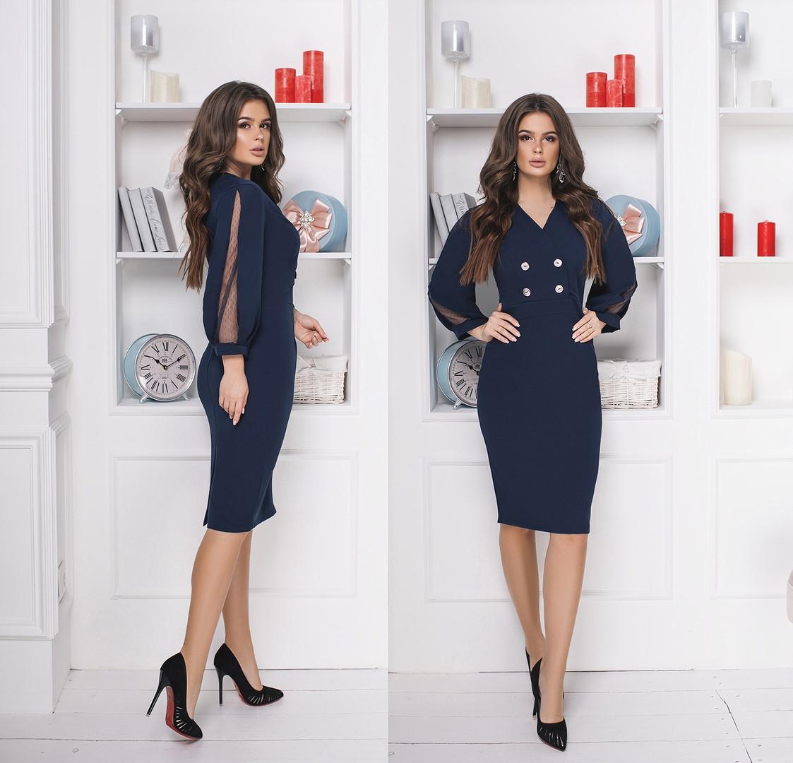 4fd5097234cfc52 Платье в классическом стиле с рукавом фонарик, отделка сетка / 2 цвета арт  8266-