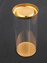 Тубус пластиковый с золотой крышкой 100*130