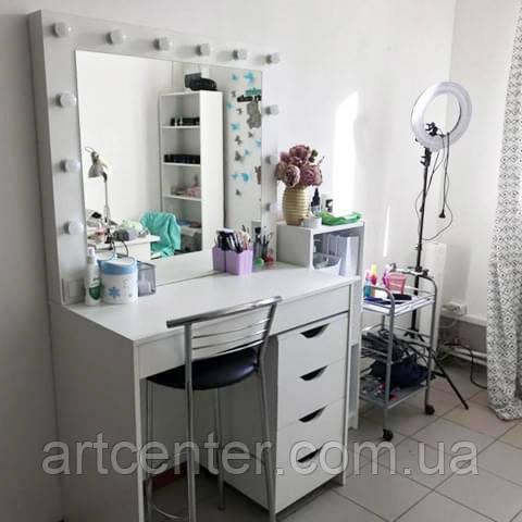 Стол визажиста с тумбой, туалетный стол с гримерным зеркалом, лаконичный гримерный стол белого цвета