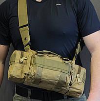 Сумка поясная модульная, тактическая сумка на пояс, сумка через плечо (104-coyote), фото 2