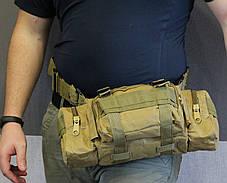 Сумка поясная модульная, тактическая сумка на пояс, сумка через плечо (104-coyote), фото 3