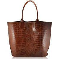 c0490cc85761 Сумка женская кожаная POOLPARTY Amphibia Leather Bag Crocodile коричневая