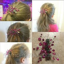 Заколка для волос с хрустальными бусинами розовая Малиновая