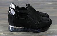 Кроссовки женские черные замшевые Lonza, фото 1