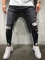 Мужские джинсы темно-серые с принтом змеи B4277