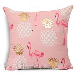 Декоративная подушка велюровая с золотистими элементами Фламинго