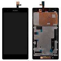Дисплейный модуль (экран и сенсор) для Sony Xperia T2 Ultra DS D5322, с рамкой, черный, оригинал