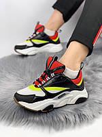 Женские кроссовки Dior Homme Sneakers. Белые с черным. Натуральная кожа, фото 1