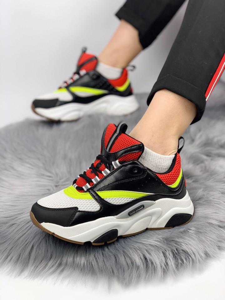 Женские кроссовки Dior Homme Sneakers. Белые с черным. Натуральная кожа
