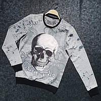 Мужской демисезонный свитшот со скелетом серый, фото 1