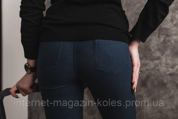 Синие женские лосины вставкой из эко-кожи, фото 2
