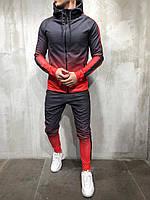 Мужской спортивный костюм градиент красно-серый BRS-5058