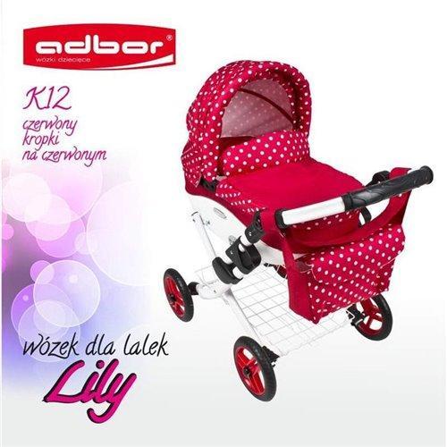 Коляска для куклы Adbor Lily K12 красный горошек на красном