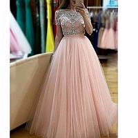 44397721586a9e5 Вечернее платье с камнями и длинными рукавами. Шикарное вечернее платье в  пол. Платье с