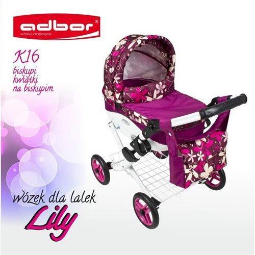Коляска для куклы Adbor Lily K16 малиновый цветы на малиновом