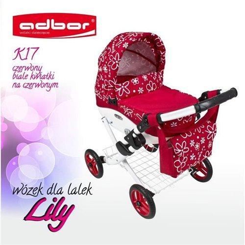 Коляска для куклы Adbor Lily K17 красный цветы маленькие на красном