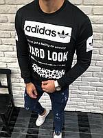 Черный мужской свитшот Adidas адидас реглан с принтом