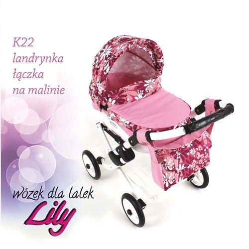 Коляска для куклы Adbor Lily K22 розовый цветы на малиновом