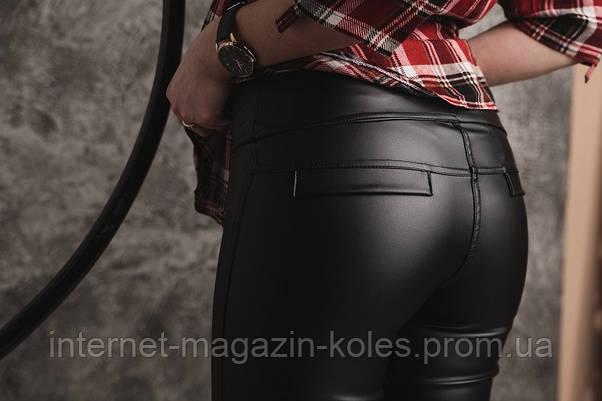 Черные женские лосины из экокожи, фото 2
