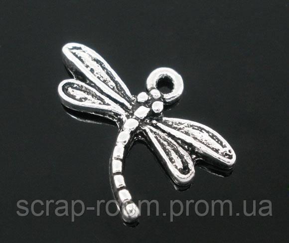 Подвеска металлическая Стрекоза серебро 15*19 мм