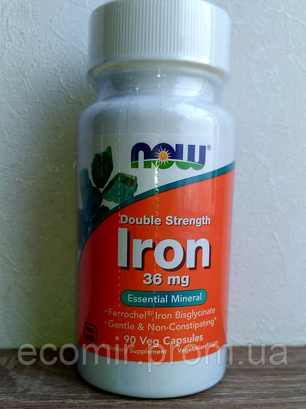 """Железо, двойная сила"", Now Foods (36 мг/ 90 капсул)"