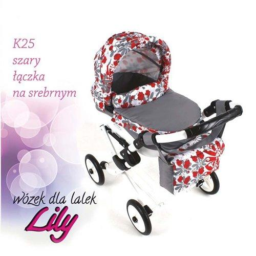 Коляска для куклы Adbor Lily K25 серый цветы на серебряном