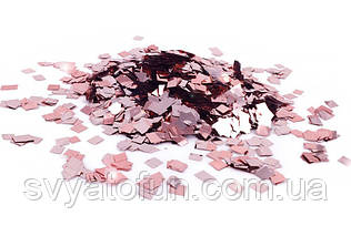 Конфетти Квадрат, розовое золото, металлик, 50г