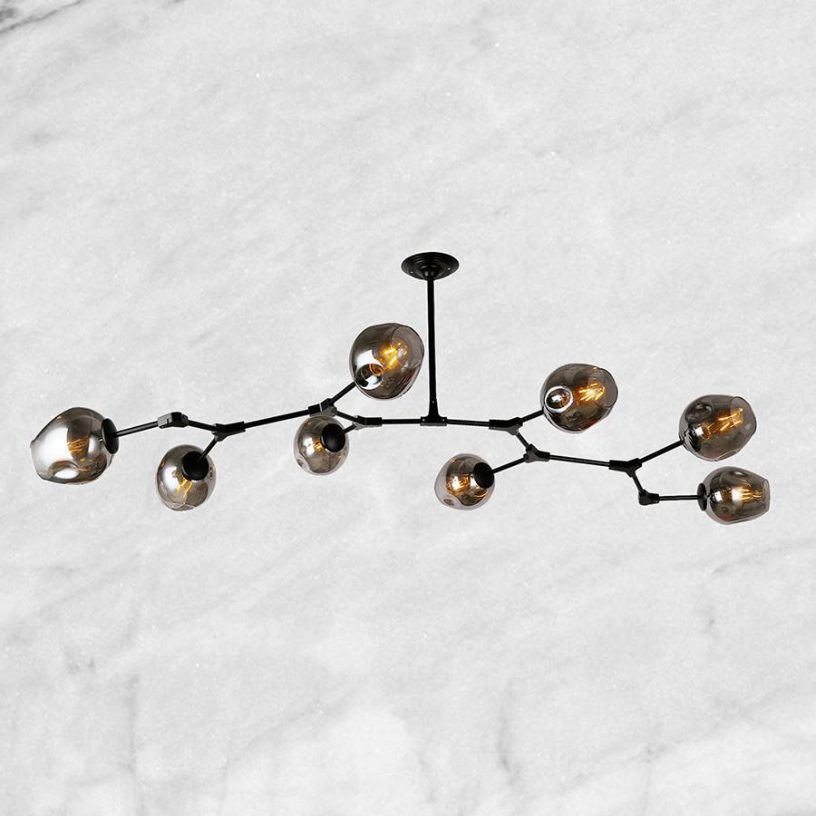 """Чёрная люстра """"8 молекул"""" (56-LPR0231-8 BK) чёрно-прозрачный"""