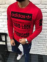 Красный мужской свитшот Adidas адидас реглан с принтом