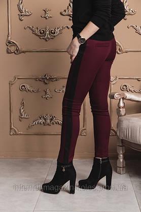 Бордовые класические женские брюки с лампасами , фото 2