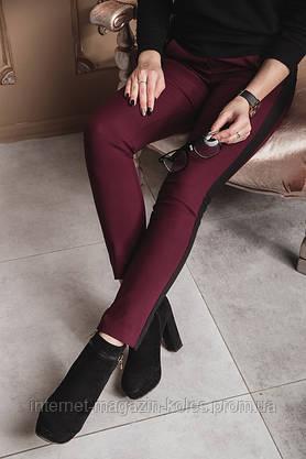 Бордовые класические женские брюки с лампасами , фото 3