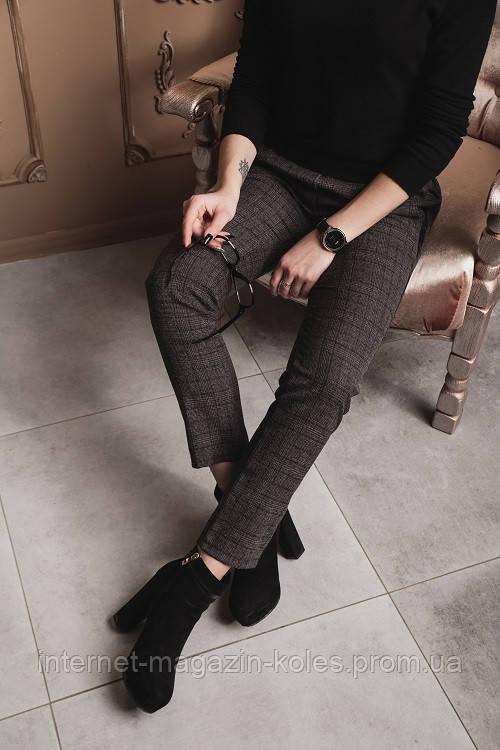Классические женские брюки в клетку с лампасами, фото 2